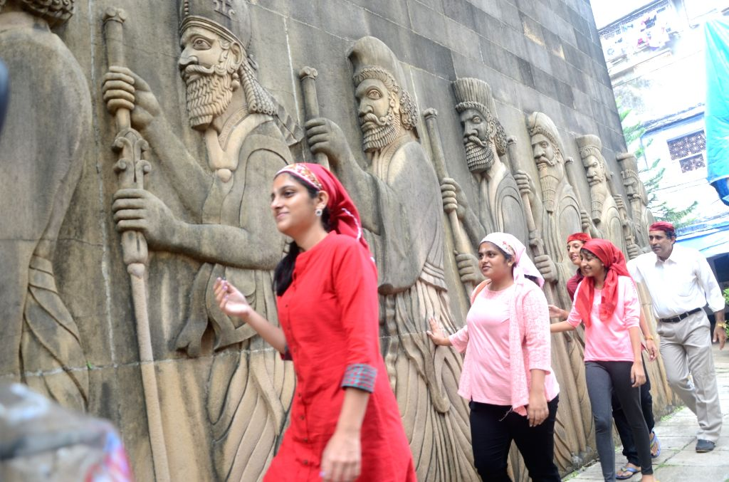 People celebrate Parsi New Year at Fire Temple in Mumbai on Aug 17, 2017.