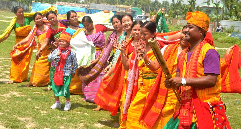 People celebrate Rangjali Bwisagu also known as Bihu in Kokrajhar on April 15, 2014.