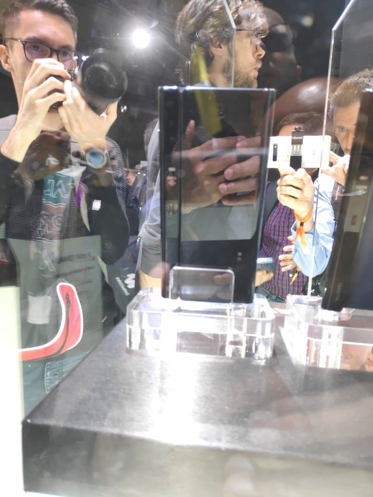 People checkout the newly launched Huawei Mate X 5G foldable phone at the Mobile World Congress 2019 in Barcelona, Spain on Feb 24, 2019.