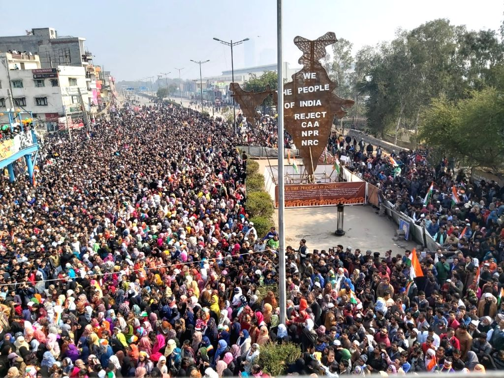 People continue to protest against the Citizenship Amendment Act (CAA) 2019, National Register of Citizens (NRC) and National Population Register (NPR) on the 71st Republic Day, at Shaheen ...
