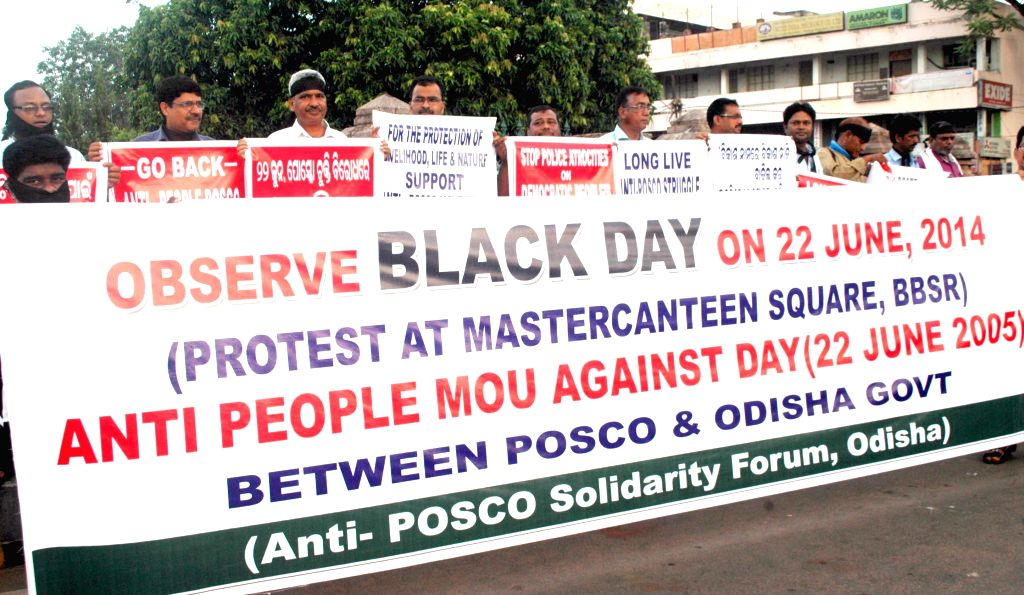 People demonstrate as they observe 'Black Day' on the 9th anniversary of signing of MoU between the Odisha Government and South Korean steel major in Bhubaneswar on June 22, 2014. (Photo : Arabinda ..