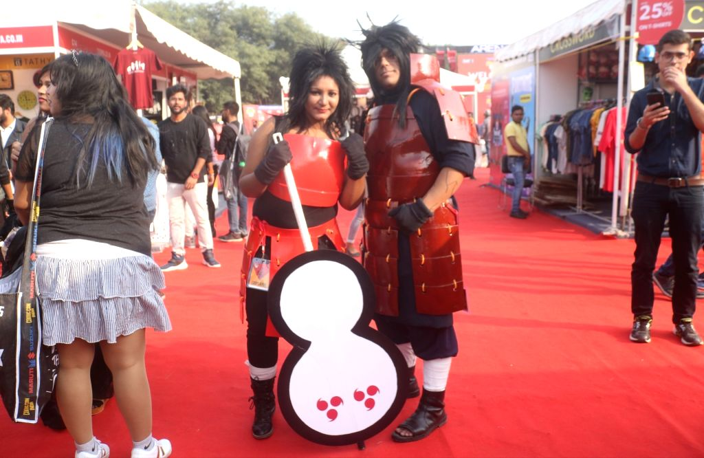 """People dressed up as various comic characters at the three-day fest - """"Comic Con"""" in New Delhi on Dec 7, 2018."""