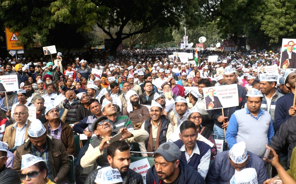 People during a sit-in protest against the central government at Jantar Mantar, in New Delhi, on Feb 13, 2019.