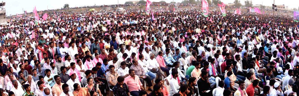 People during a Telangana Rashtra Samithi (TRS) rally in Nalgunda on Dec 3, 2018.