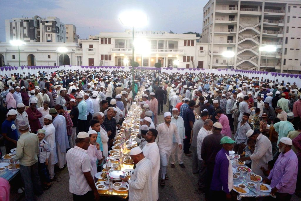 People during an iftar party hosted by AIMIM President Asaduddin Owaisi at the party's headquarters at Darussalam in Hyderabad, on June 4, 2019.