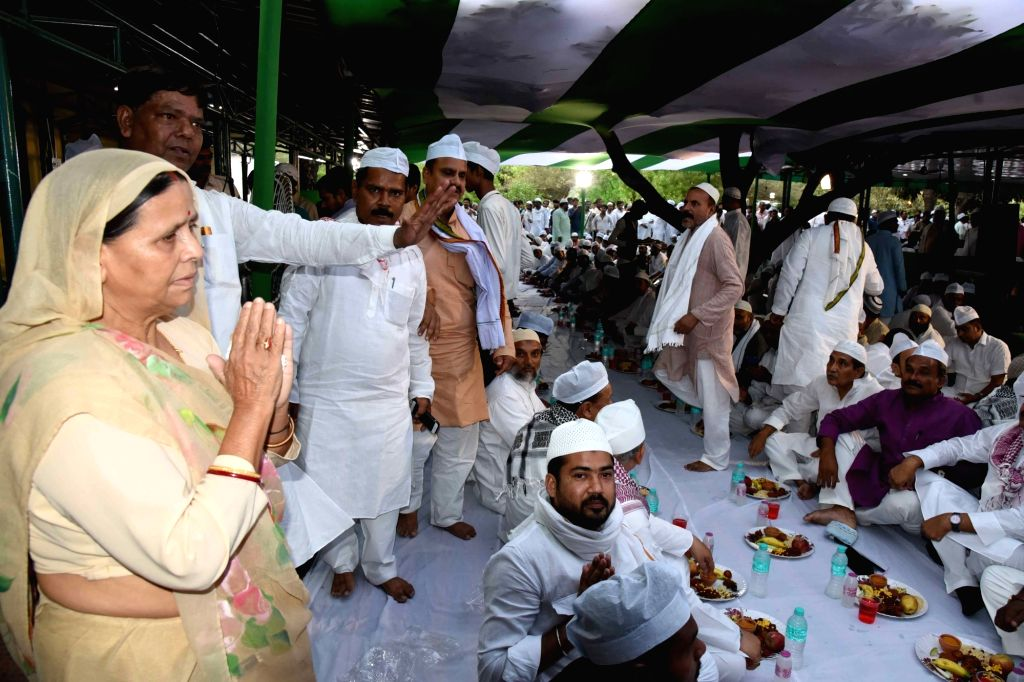 People during an iftar party hosted by RJD leader Rabri Devi, in Patna on June 2, 2019.
