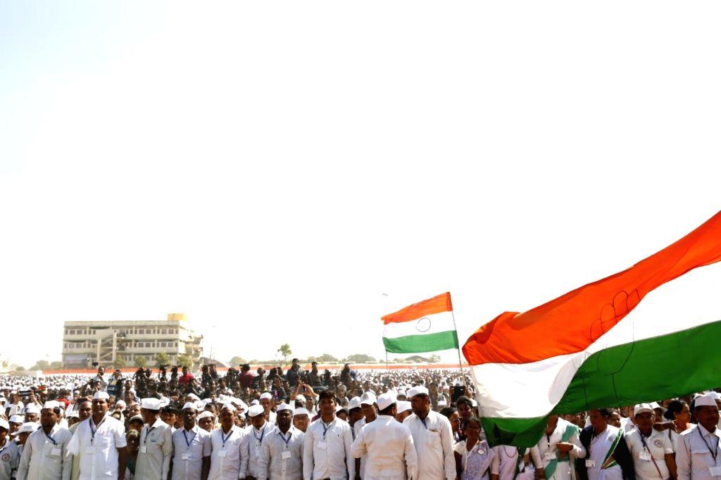 People during Congress President Rahul Gandhi's public meeting in Ajmer, on Feb 14, 2019. - Rahul Gandhi