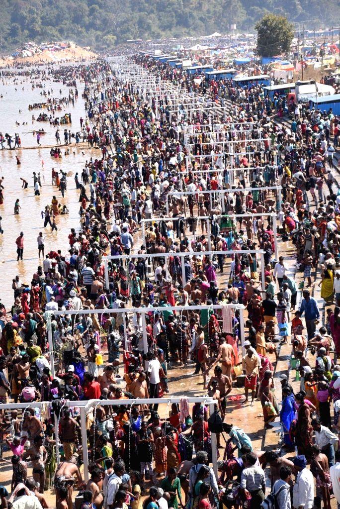 People during Medaram Samakka Sarakka Jatara festival in Warangal, Telangana  on Feb 1, 2018.