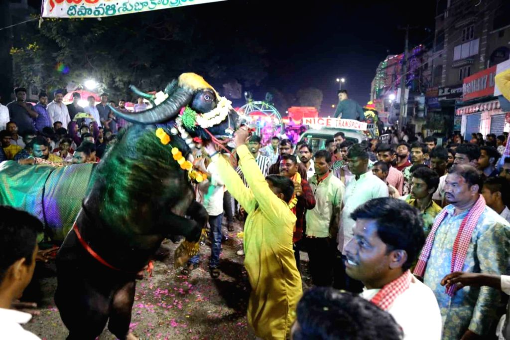 People during Sadar - the annual buffalo carnival celebrated by the Yadav community - underway in Hyderabad on Oct 29, 2019.