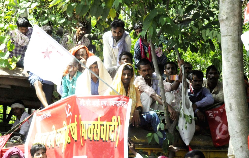 "People during the ""Jan Akrosh March"" organised by Communist Party of India (CPI) in Patna on Sept 19, 2017."