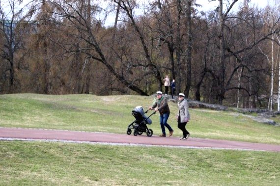 People enjoy their time at Kaivo Park amid COVID-19 pandemic in Helsinki, Finland, on May 1, 2020.