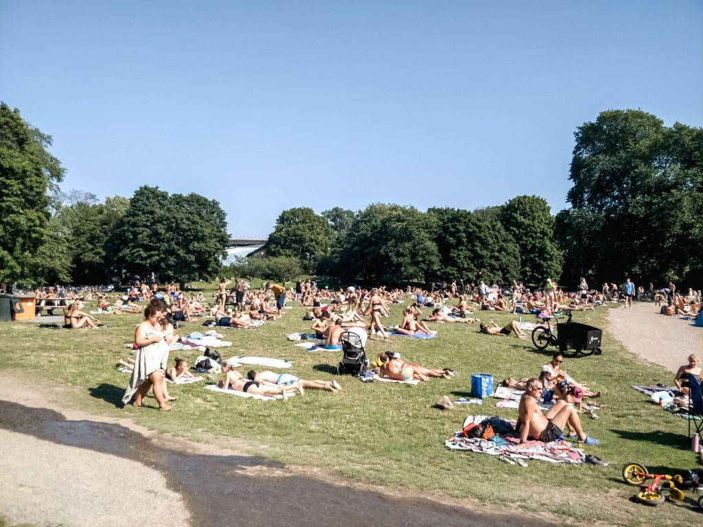 People enjoy themselves at a lakeside beach in Stockholm, capital of Sweden, on Aug. 9, 2020. Sweden has counted 5,763 COVID-19 deaths and 82,323 infections as of ...