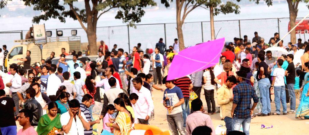 People fly kites in Hyderabad on Makar Sankranti on Jan 14, 2017.