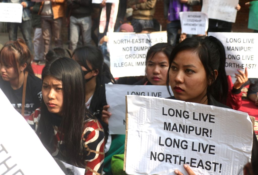 People from Manipur stage a demonstration against the Citizenship (Amendment) Bill in New Delhi, on Jan 30, 2019.