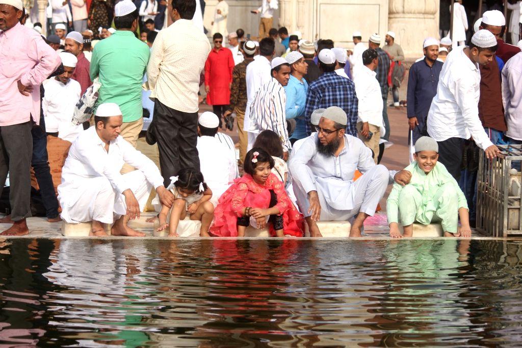 People gather at Jama Masjid on Eid-ul-Fitr in New Delhi on June 5, 2019.