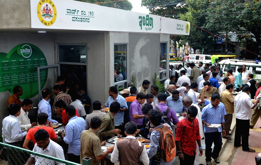 People gather outside the newly launched Indira canteen in Bengaluru on Aug 17, 2017.
