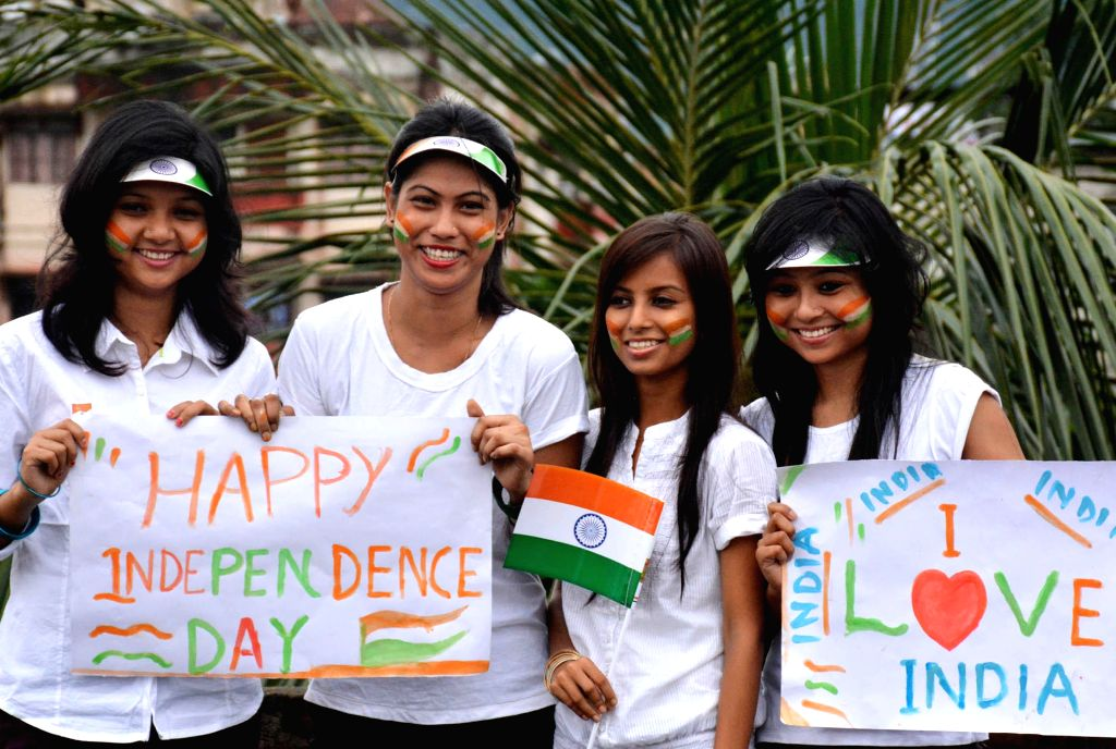 People in celebration mood on the eve of Independence Day in Guwahati on Aug 14, 2014.