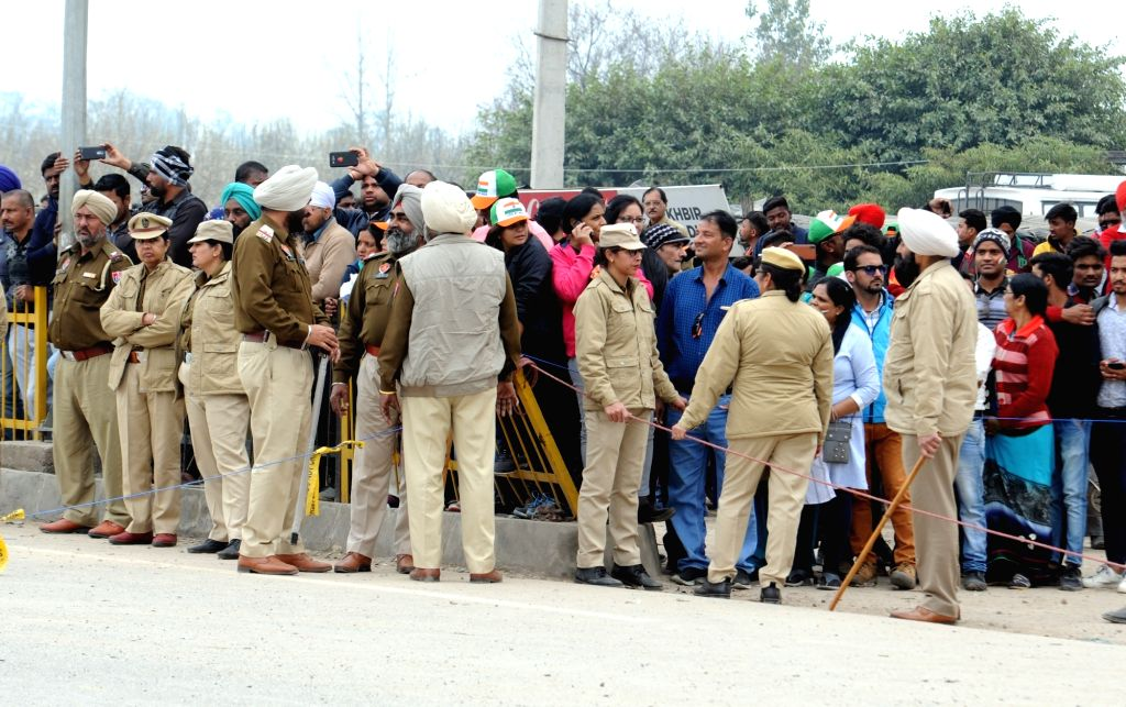 People in large numbers arrive at the Attari Joint Check Post (JCP) in Punjab to receive Indian Air Force (IAF) pilot Abhinandan Varthaman who was released by Pakistani authorities, on March ...