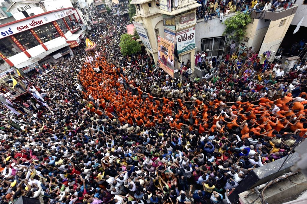 People in large numbers participate in Rath Yatra in Ahmedabad on June 25, 2017.