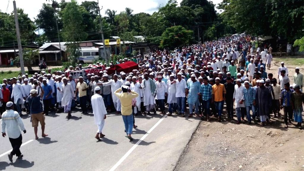 People in large numbers participate in the funeral of the two persons killed in Sept 19 eviction drive in Banderdubi village under Kaliabor subdivision near  Kaziranga National Park;  in ...