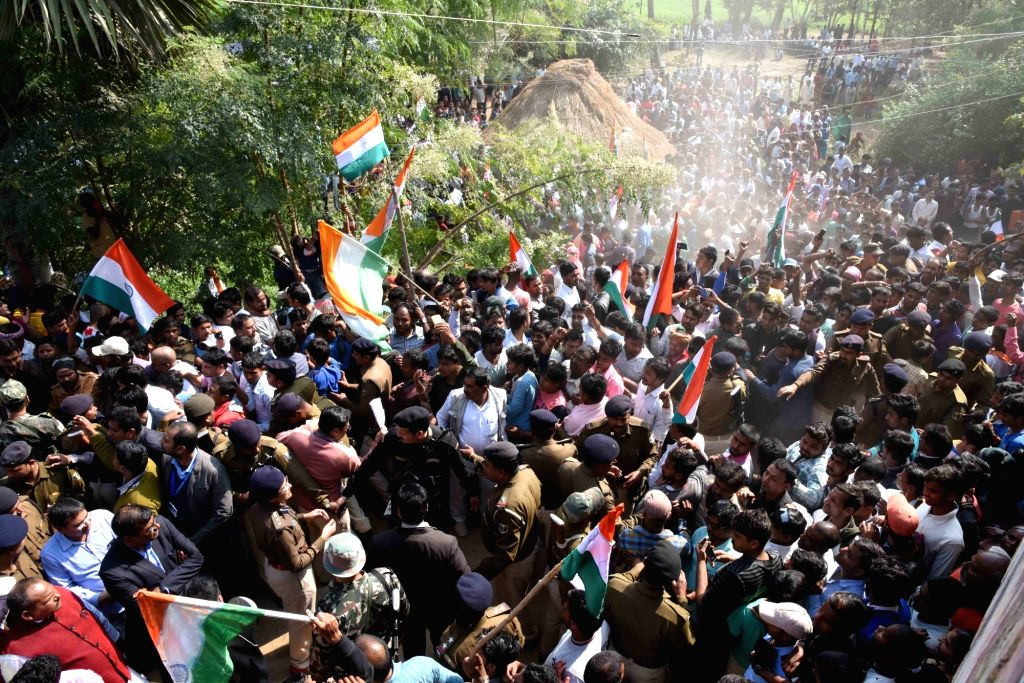 People in large numbers participate in the last rites of martyr Sanjay Kumar Sinha, one of the 49 CRPF personnel killed in 14 Feb Pulwama  militant attacks in Masurhai, Patna district, ... - Sanjay Kumar Sinha