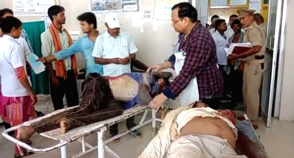 People injured in clashes that erupted over a land dispute, receiving treatment at a hospital in Uttar Pradesh's Sonbhadra district on July 17, 2019. According to reports, the incident ...