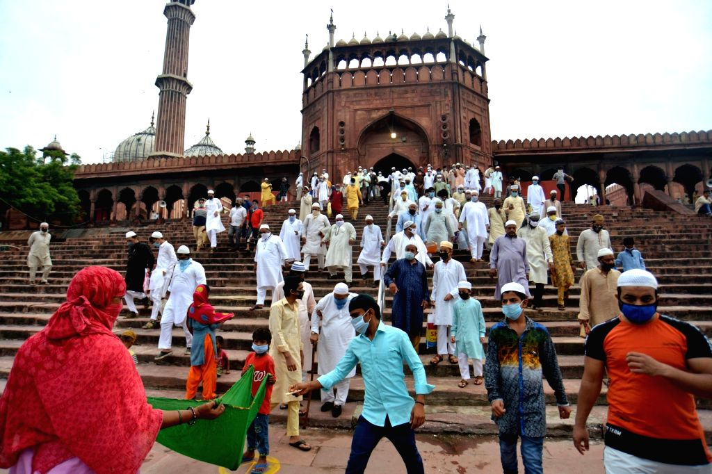 People leave after offering Eid-ul-Adha prayers at the Jama Masjid in Delhi on Aug 1, 2020.