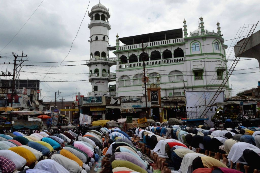 People offer namaaz at a mosque during Ramadan in Patna on July 1, 2016.