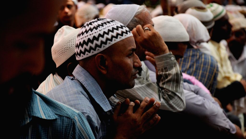 People offer namaaz at a mosque during Ramadan in Amritsar on July 1, 2016.