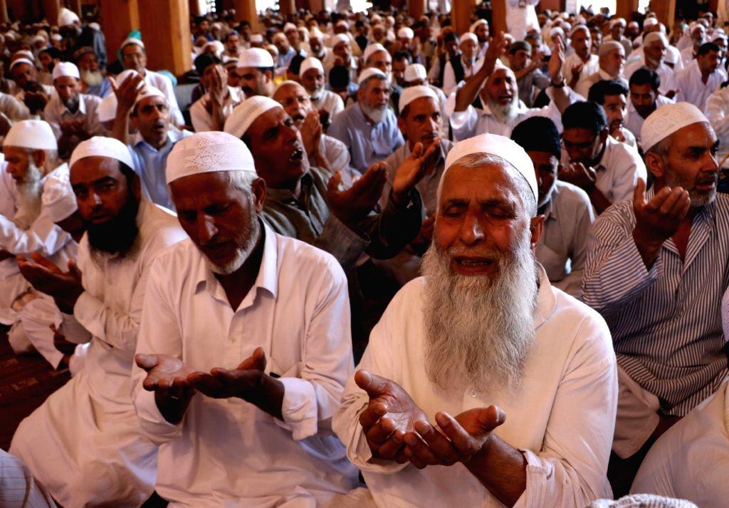 People offer namaaz at Jamia Masjid during Ramadan in Srinagar on July 1, 2016.