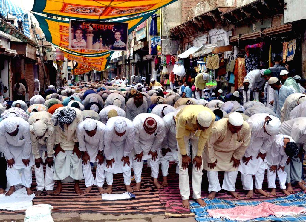 People offer namaaz on Jamat-Ul-Vida during Ramadan in Mathura, on July 1, 2016.