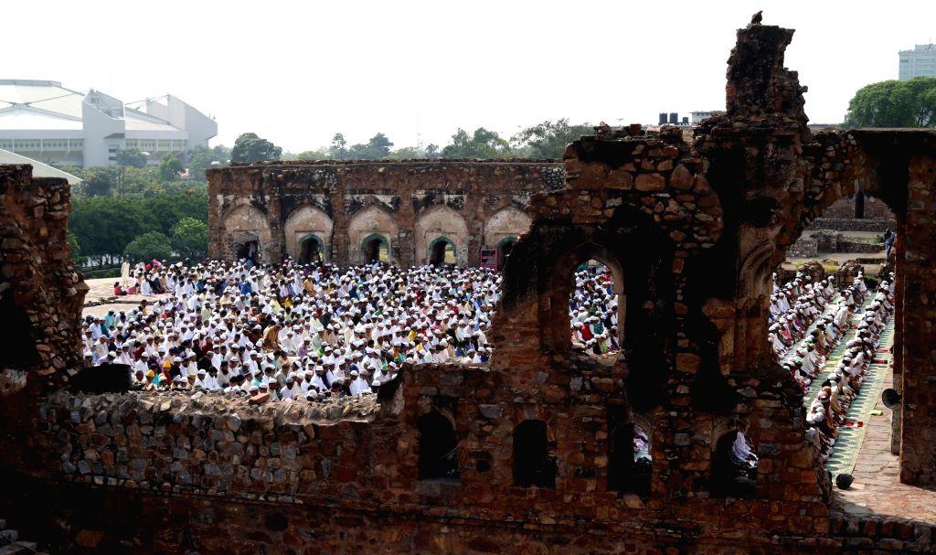 People offer namaz at Feroz Shah Kotla on Eid al-Adha in New Delhi, on Sept 13, 2016. - Feroz Shah Kotla