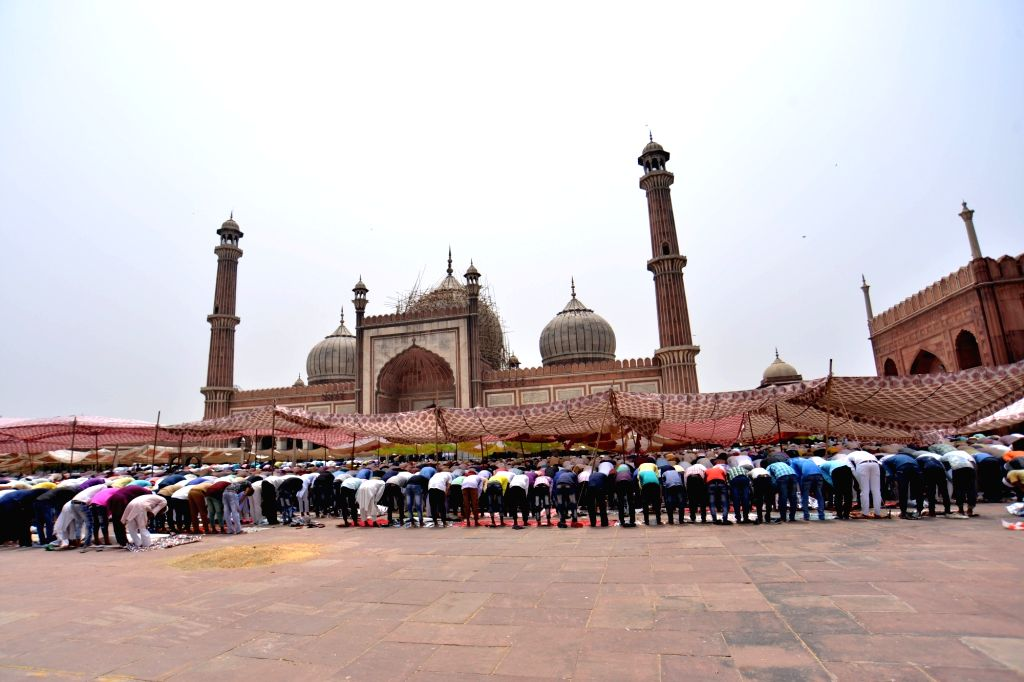 People offer namaz at Jama Masjid during the holy month of Ramadan, in New Delhi, on June 8, 2017.