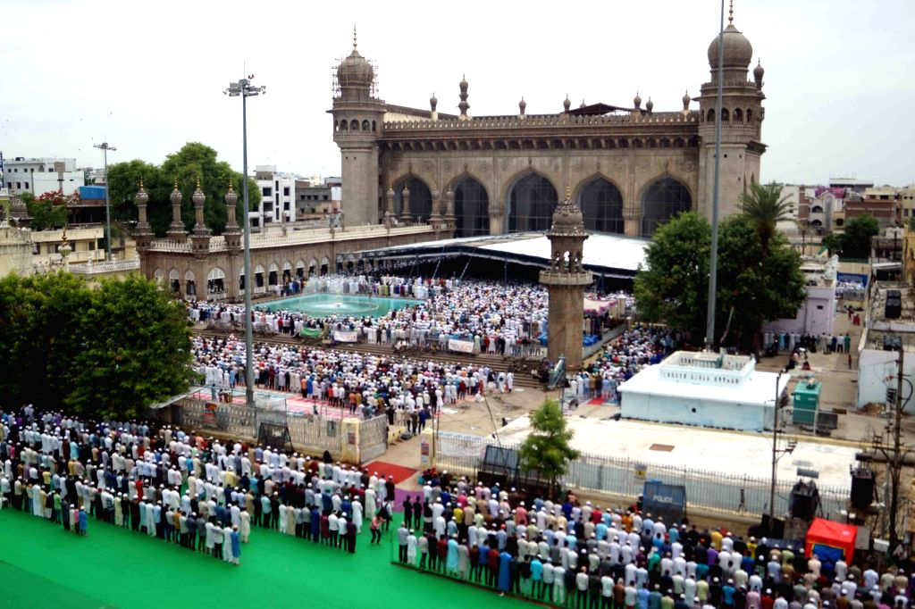 People offer namaz at Mecca Masjid during the holy month of Ramadan in Hyderabad, on June 8, 2018.