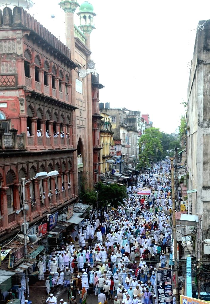 People offer namaz at Nakhoda Masjid on Eid al-Adha in Kolkata, on Sept 13, 2016.