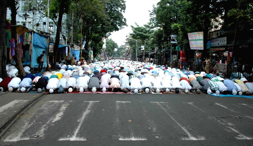 People offer namaz at the Tipu Sultan Mosque in Kolkata, on July 17, 2015.