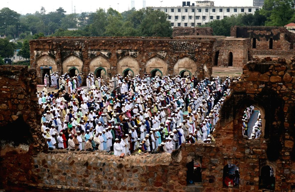 People offer namaz on Eid al-Fitr at Feroz Shah Kotla Masjid in New Delhi on July 7, 2016.