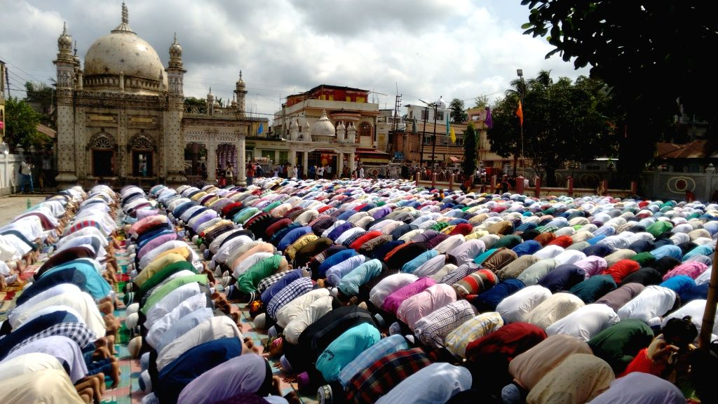 People offer namaz on Eid al-Fitr at Grid Mia mosque in Agartala on July 7, 2016.