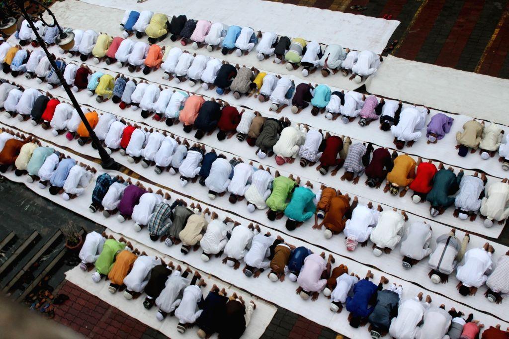 People offer namaz on Eid-al-Fitr at Jama Eidgah in Nagpur on July 7, 2016.