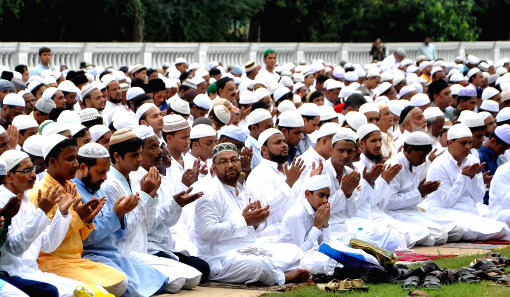 People offer namaz on Eid-al-Fitr at Red Road in Kolkata, on July 7, 2016.