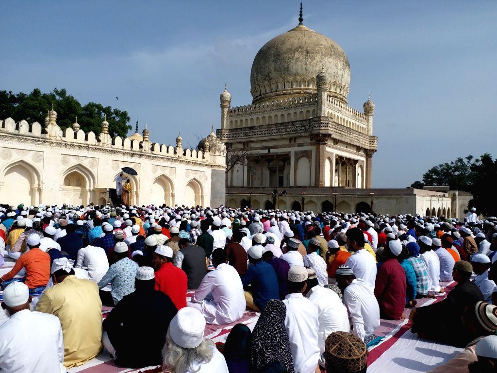 People offer namaz on Eid-ul-Adha in Hyderabad on Aug 12, 2019.