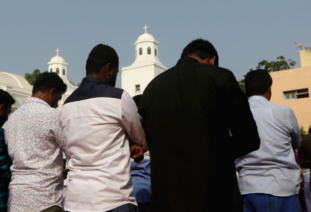 People offer namaz on Eid-ul-Fitr at a church in Chennai on June 5, 2019.
