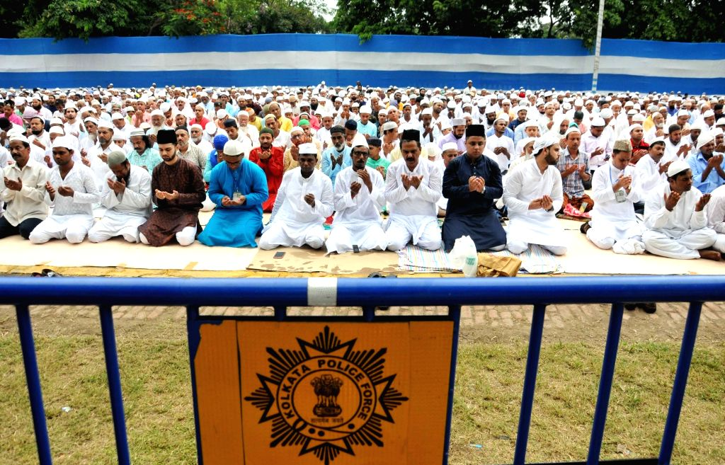 People offer namaz on Eid-ul-Fitr, in Kolkata, on June 5, 2019.