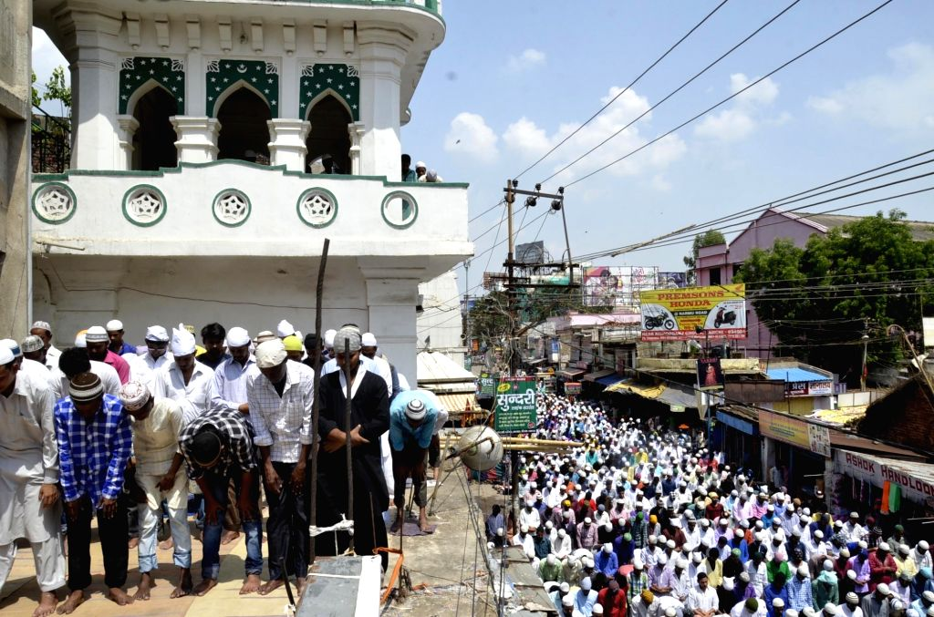 People offer namaz on the last Friday of Ramadan in Ranchi on June 23, 2017.
