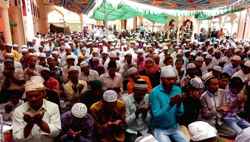 People offer namaz on the last Friday of Ramadan in Gurugram on June 23, 2017.