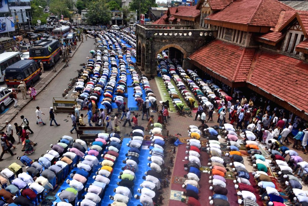 People offer namaz on the last Friday of Ramadan in Mumbai on June 23, 2017.