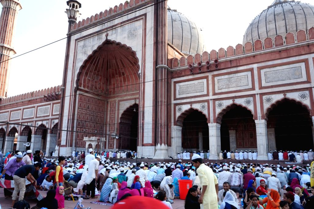 People offer namaz on the last Friday of Ramadan at Jama Masjid in New Delhi  on June 23, 2017.