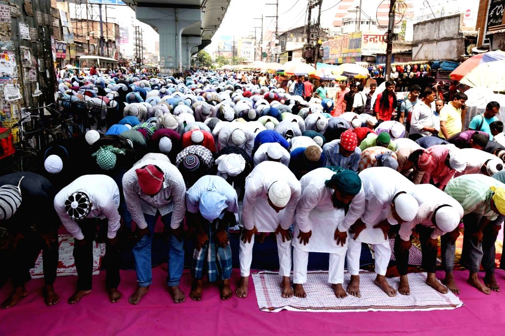 People offer prayers on the first Friday of Ramadan in Patna, on May 10, 2019.