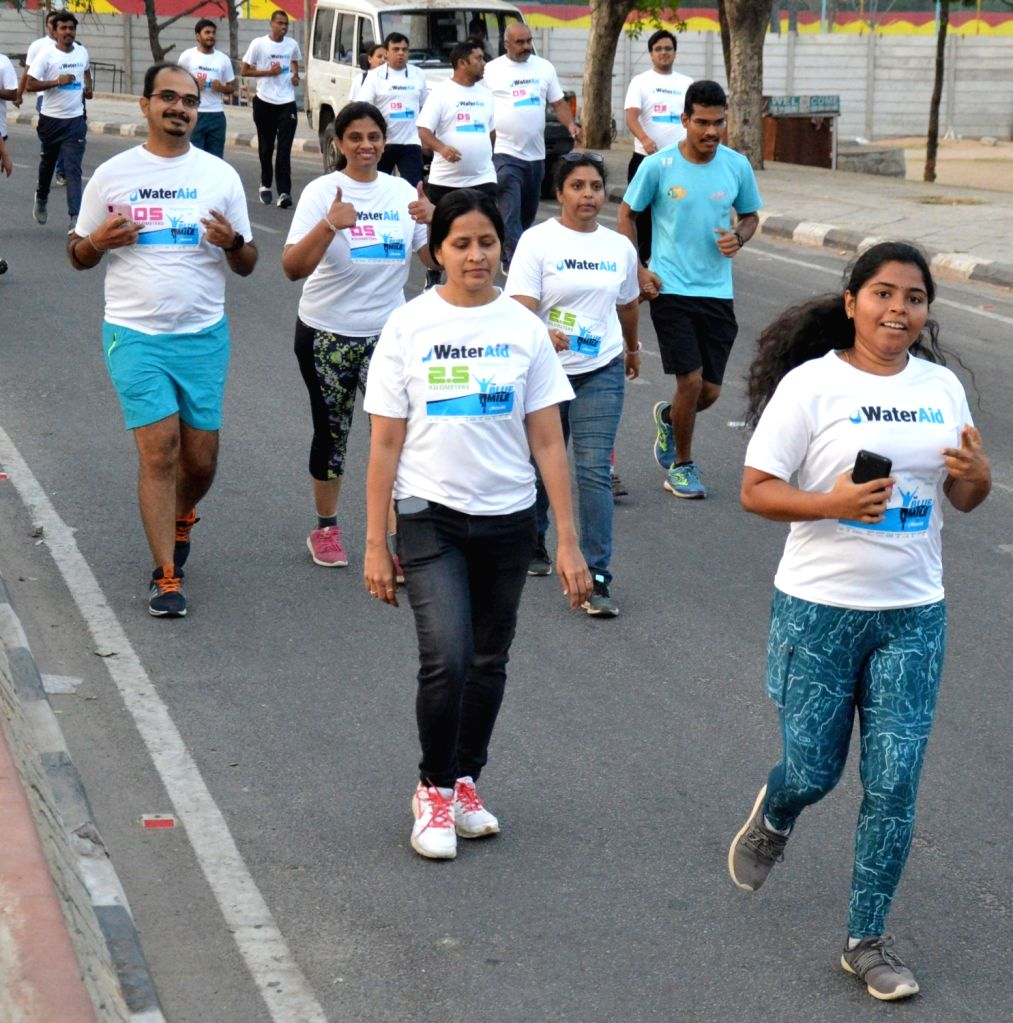 People participate at the Blue Mile 10K Run For Water awareness campaign in Hyderabad, on  March 3, 2019.