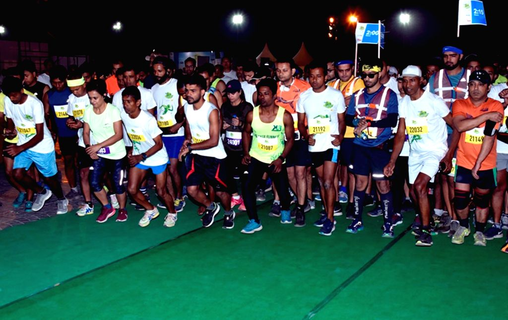 People participate at the 'SBI Green Marathon' in Kolkata, on Feb 24, 2019.